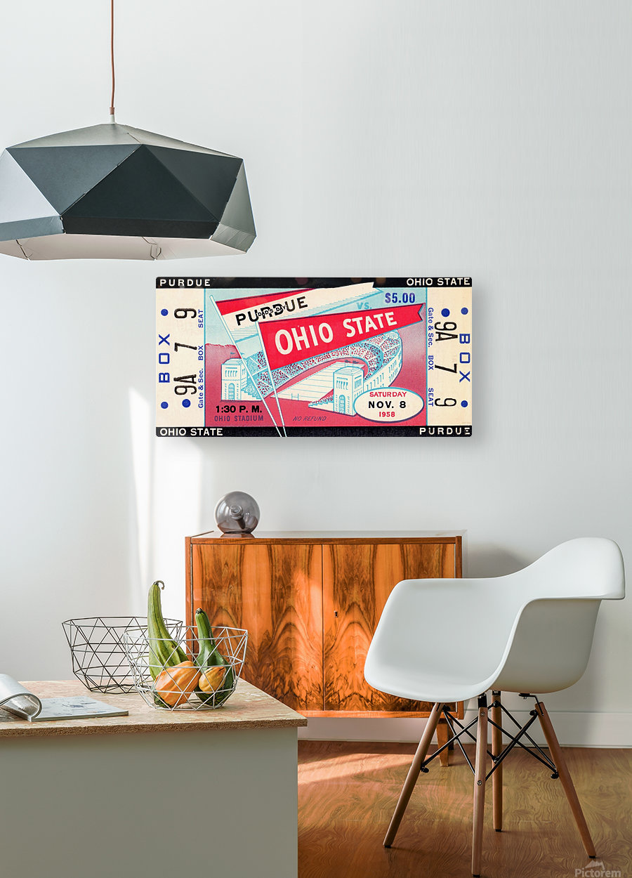1958_College_Football_Purdue vs. Ohio State_Ohio Stadium_Row One Brand  HD Metal print with Floating Frame on Back