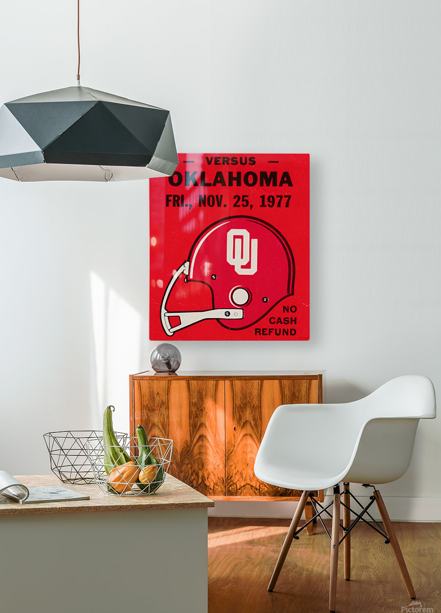 1977 Oklahoma Sooners Helmet Art  HD Metal print with Floating Frame on Back