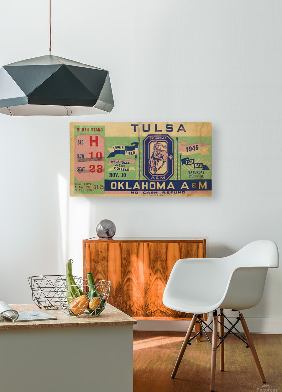 1945 Oklahoma A&M vs. Tulsa  HD Metal print with Floating Frame on Back