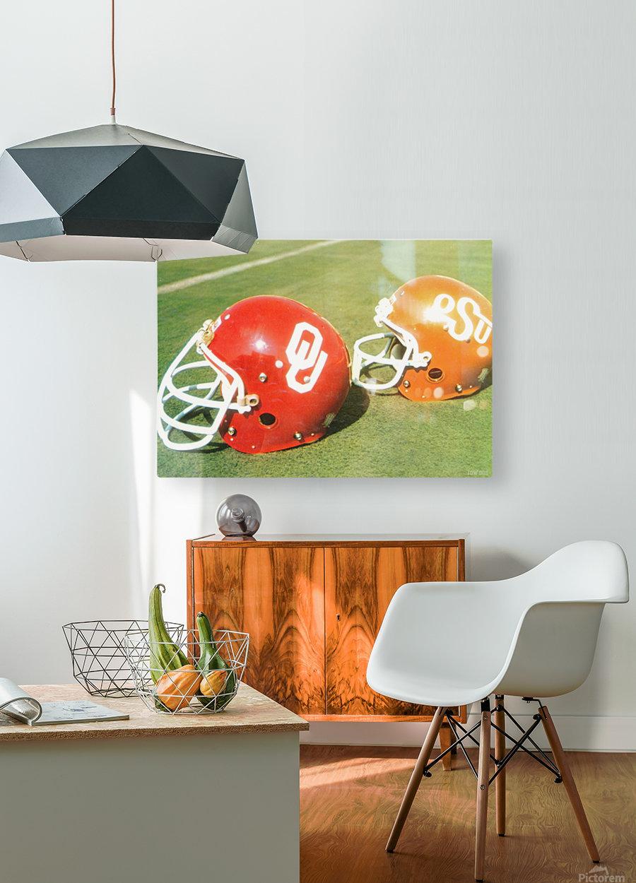 1978 Oklahoma Sooners OSU Cowboys Football Helmet Art   HD Metal print with Floating Frame on Back