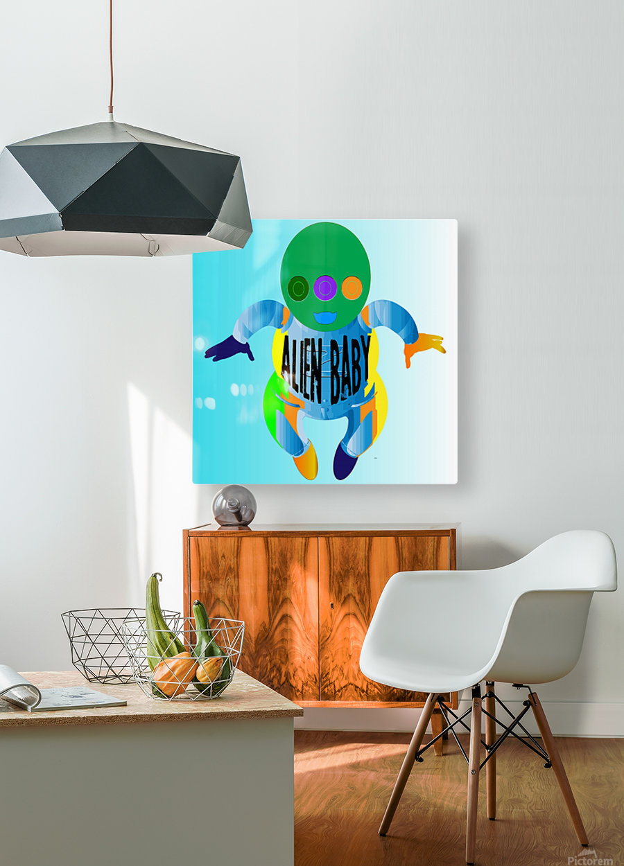 Alien Baby  HD Metal print with Floating Frame on Back