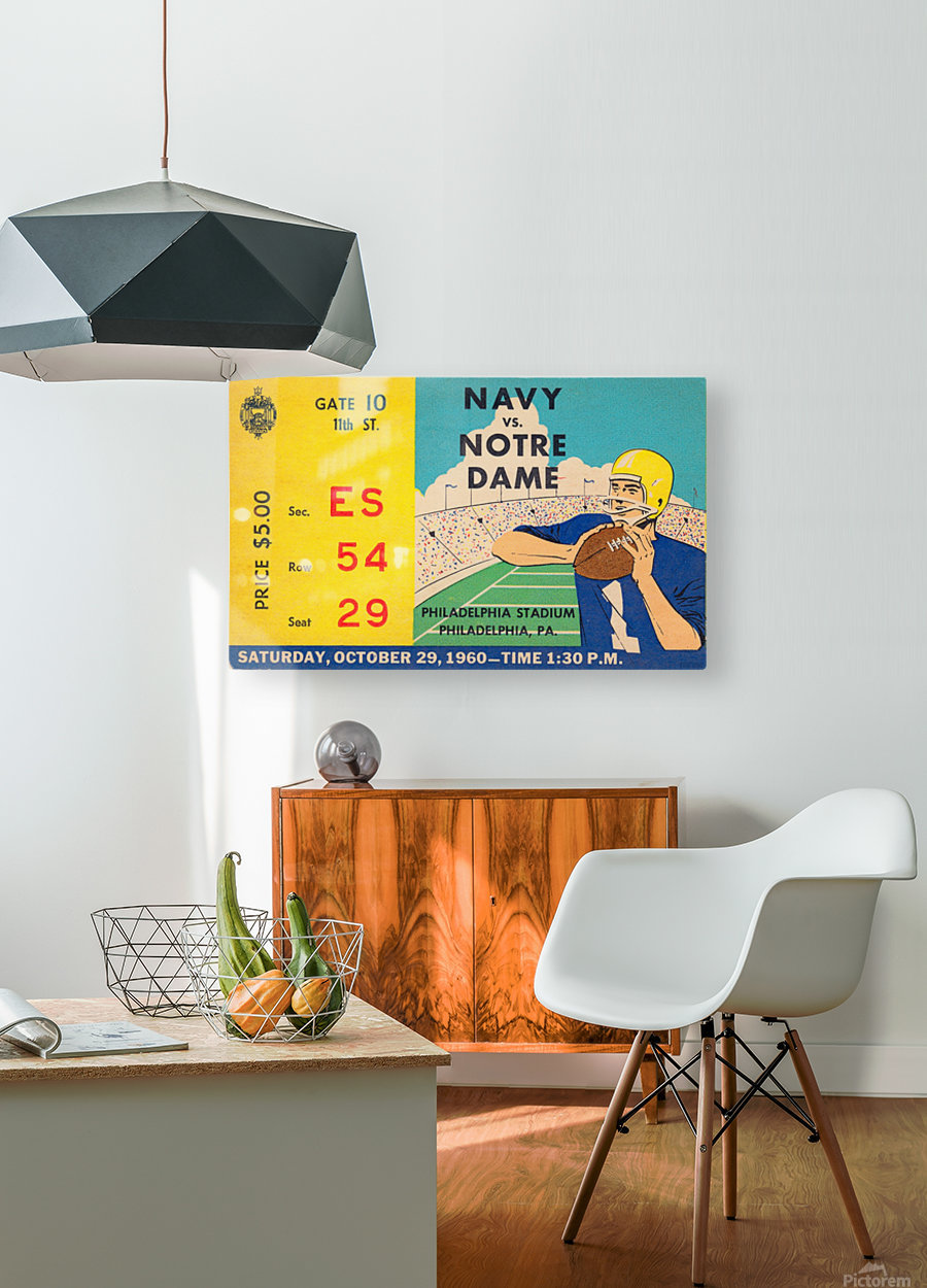 1960_College_Football_Notre Dame vs. Navy_Municipal Stadium_Row One Brand Football Art  HD Metal print with Floating Frame on Back