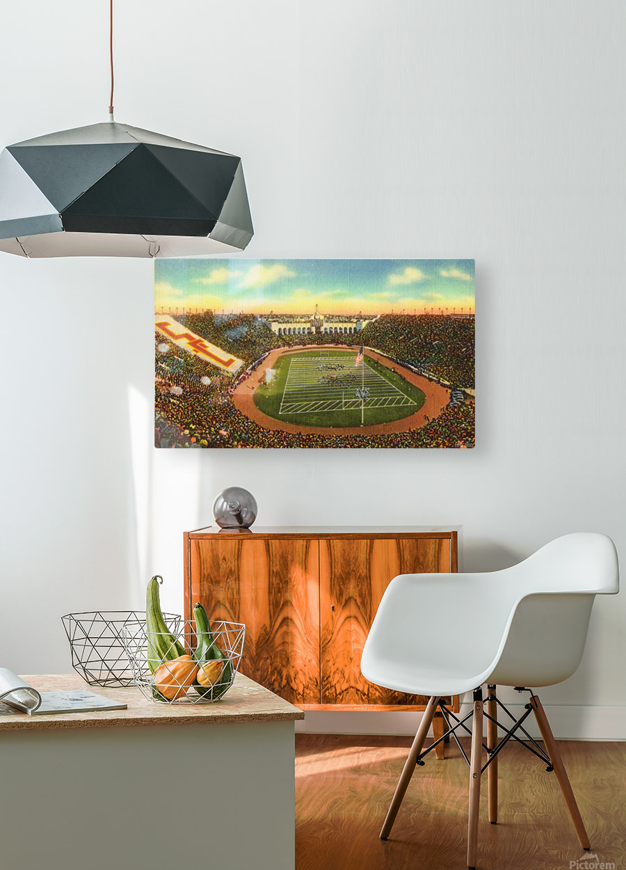 1940s Los Angeles Coliseum USC Trojans Football Art  HD Metal print with Floating Frame on Back