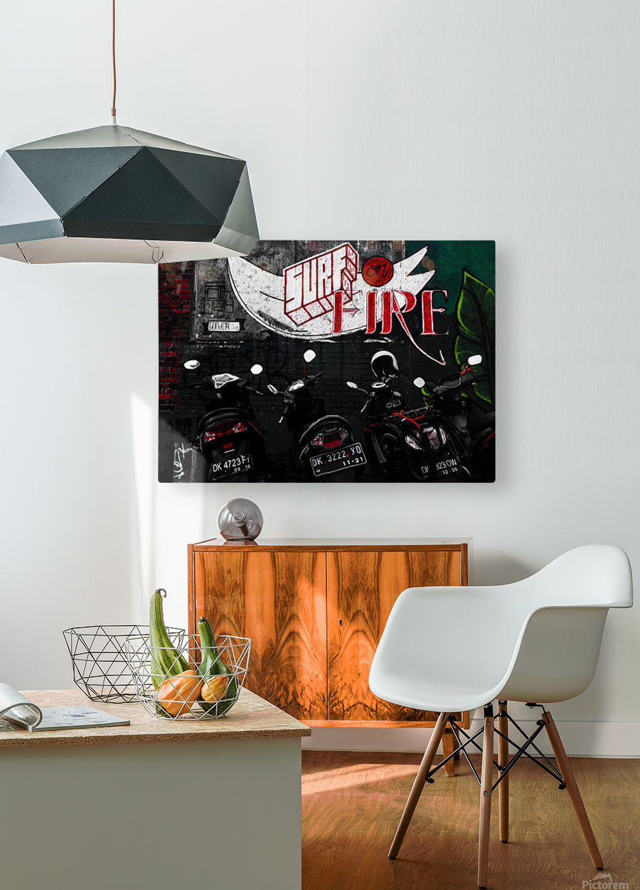 Surf Fire  HD Metal print with Floating Frame on Back