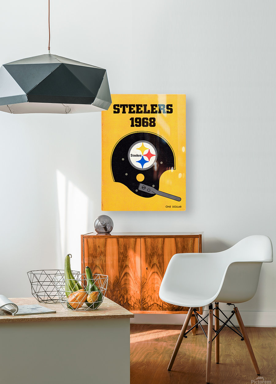 1968_National Football League_Pittsburgh Steelers_Media Guide_Row One Brand Vintage Media Guide Art  HD Metal print with Floating Frame on Back