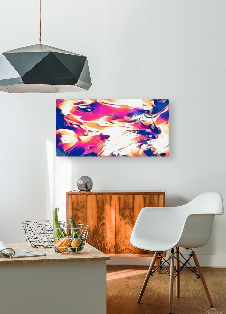 Very Berry - white blue pink orange swirl abstract wall art  HD Metal print with Floating Frame on Back