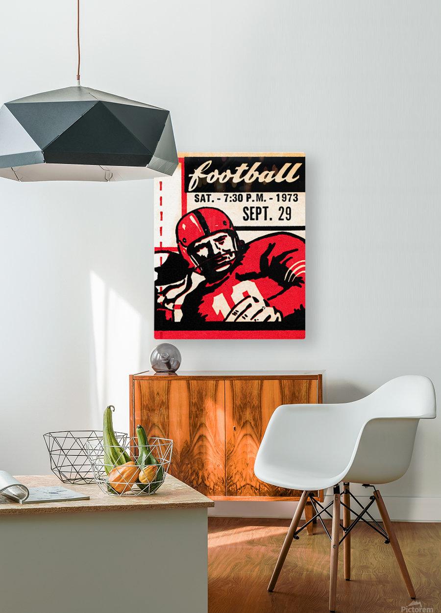 Vintage Football Art_Quarterback Artwork_Vintage Ticket Toss  HD Metal print with Floating Frame on Back