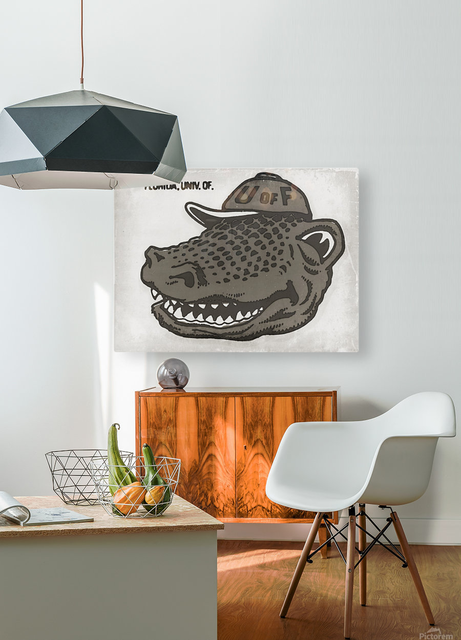 Vintage Florida Gator Art Reproduction Print Black and White  HD Metal print with Floating Frame on Back