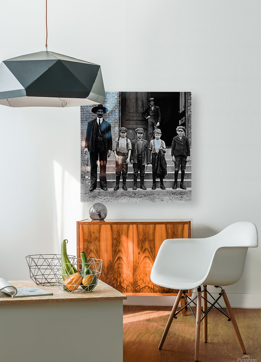 young workers around 1908  HD Metal print with Floating Frame on Back