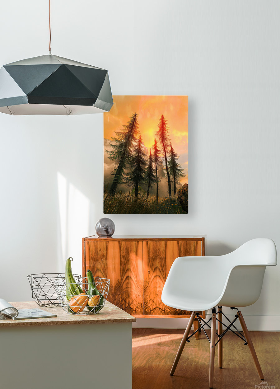 Pine Woods Sunset Fantasy  HD Metal print with Floating Frame on Back