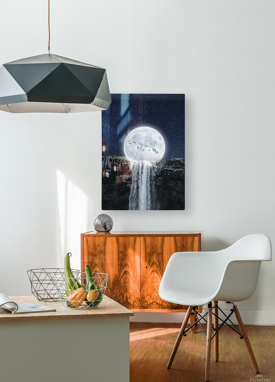 Moon Waterfall Fantasy  HD Metal print with Floating Frame on Back