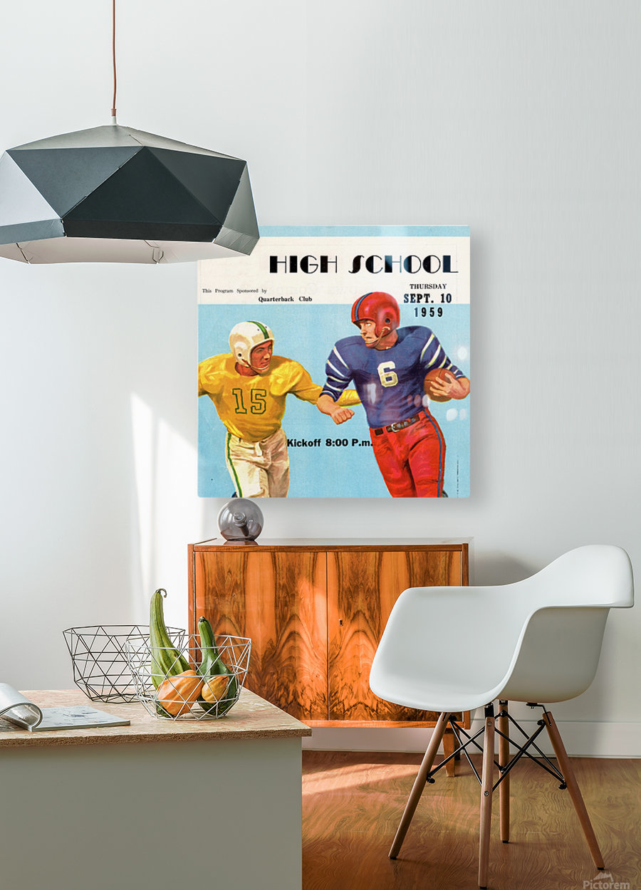 1959 High School Football  HD Metal print with Floating Frame on Back