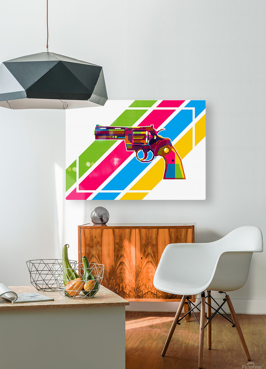 Python Handgun  HD Metal print with Floating Frame on Back