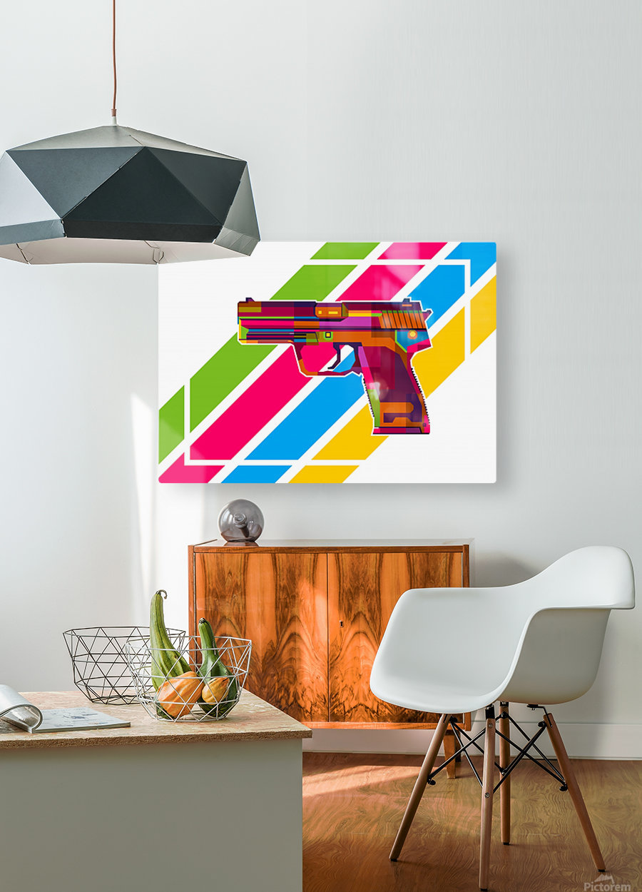 Heckler and Koch USP Handgun  HD Metal print with Floating Frame on Back