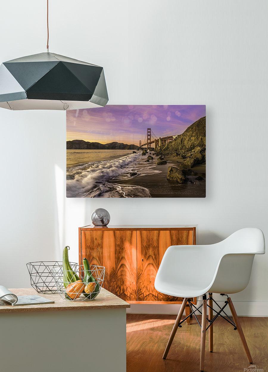Golden Gate Sunset  HD Metal print with Floating Frame on Back