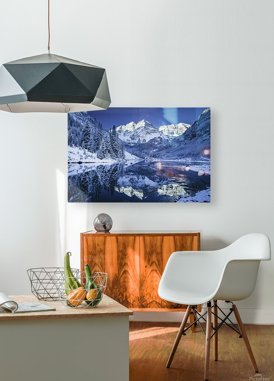 Maroon Bells Dressed in white  HD Metal print with Floating Frame on Back