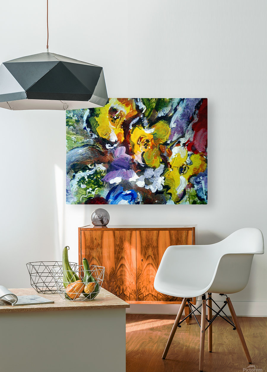 Primary Yellow  HD Metal print with Floating Frame on Back