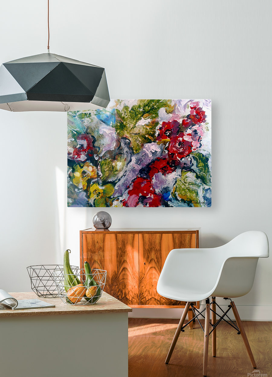 Flowers and Leaves  HD Metal print with Floating Frame on Back