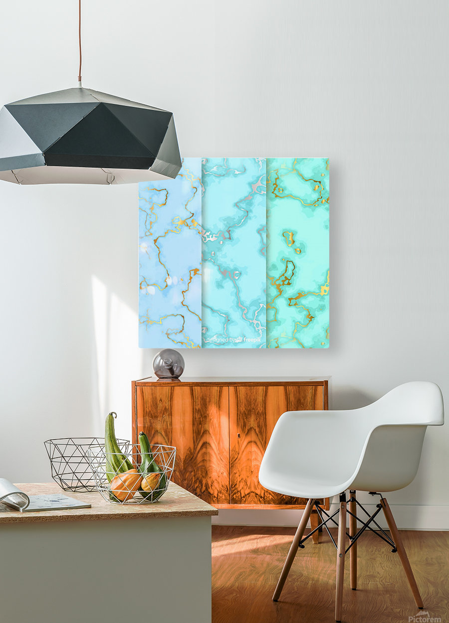 background marble set  HD Metal print with Floating Frame on Back