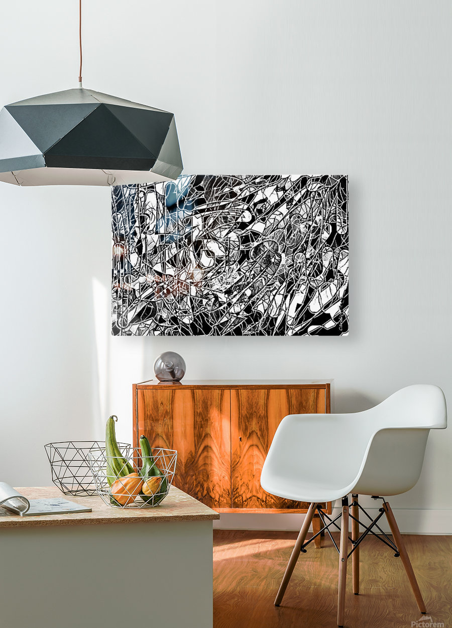 Black & White Art Threshold Light Texture  HD Metal print with Floating Frame on Back