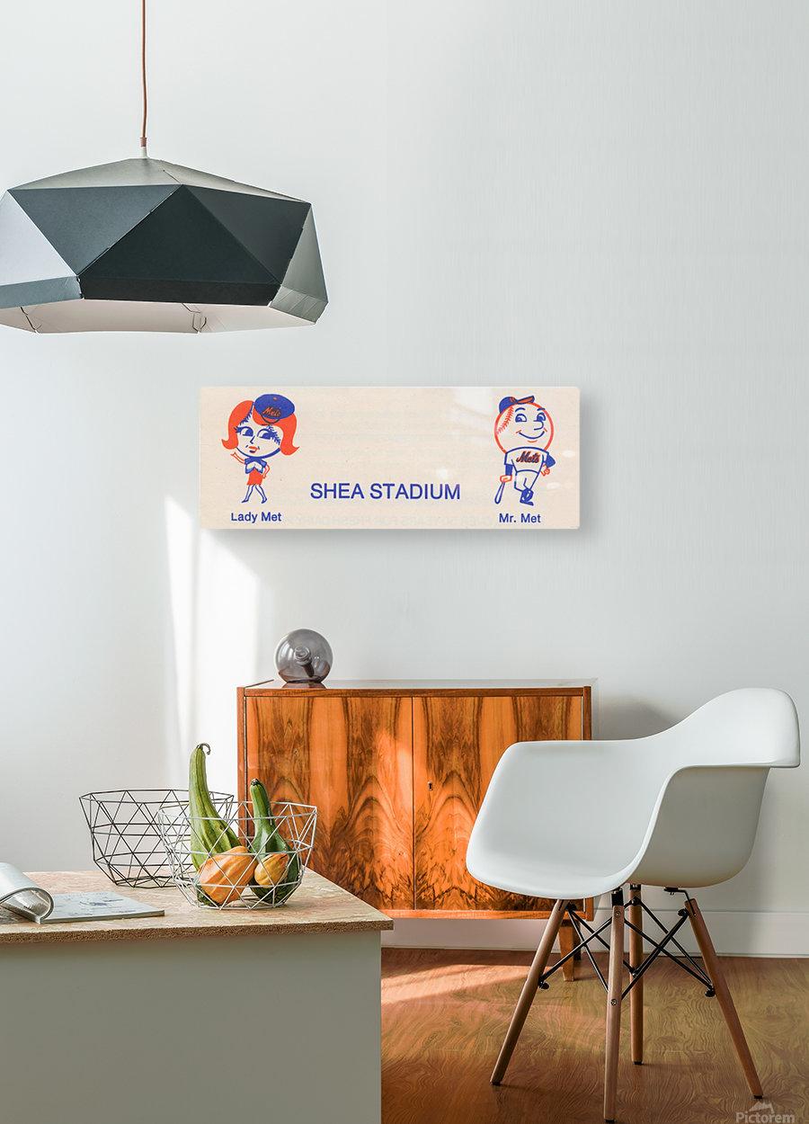 1977 new york mets art reproduction shea stadium retro baseball artwork row one brand  HD Metal print with Floating Frame on Back