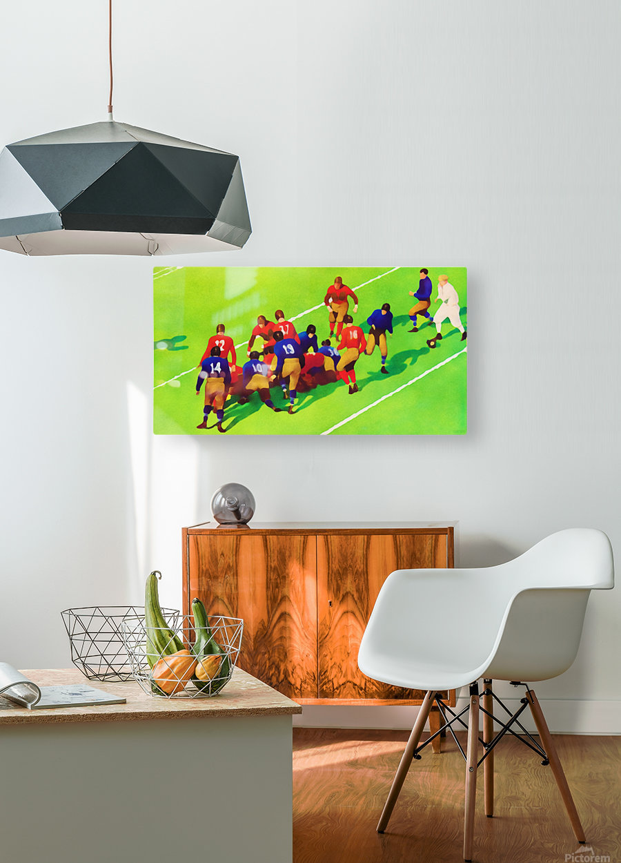 Vintage Football Art Sunny Day Gridiron Artwork  HD Metal print with Floating Frame on Back
