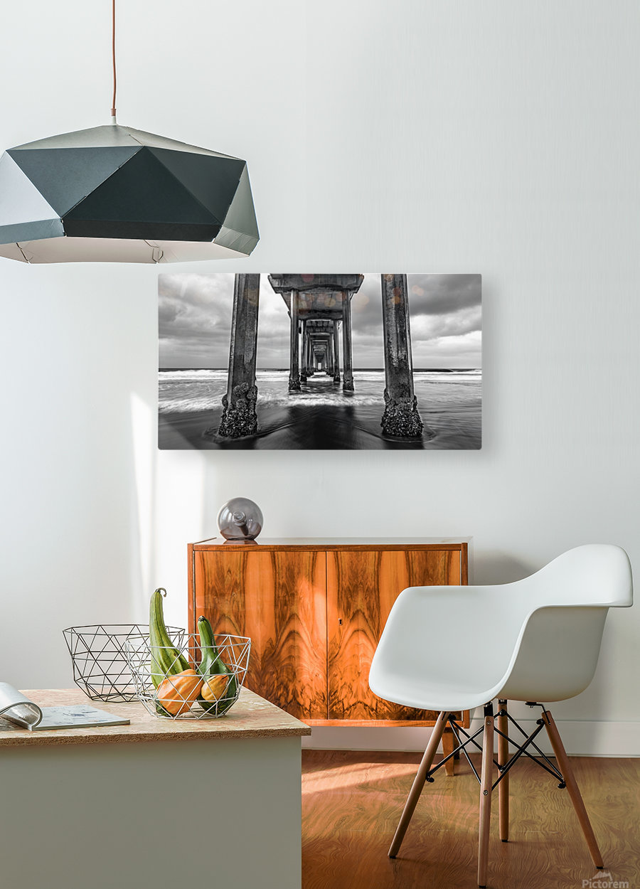 Scripps Pier in B&W  HD Metal print with Floating Frame on Back