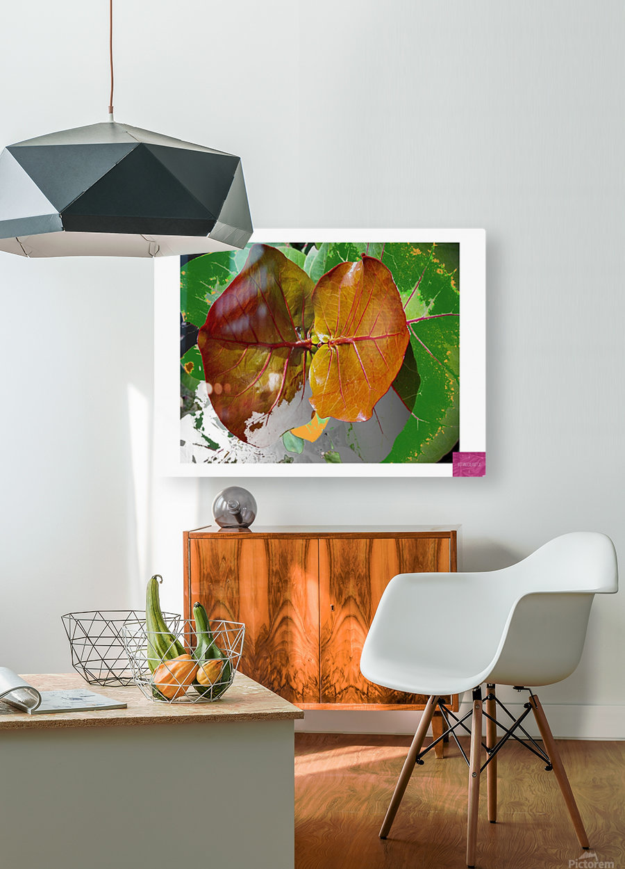 Tropical Tan Leaves  HD Metal print with Floating Frame on Back