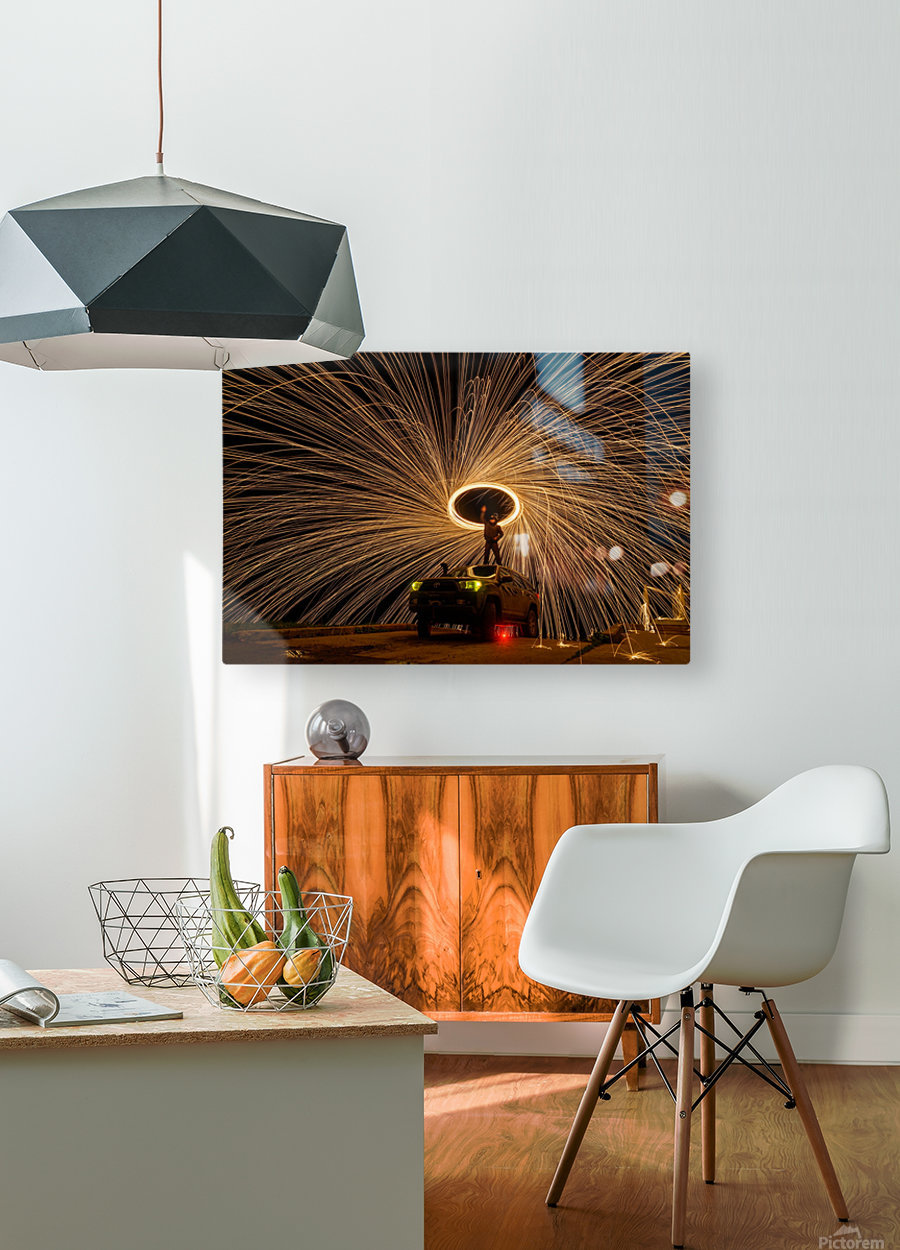 Hes on fire  HD Metal print with Floating Frame on Back