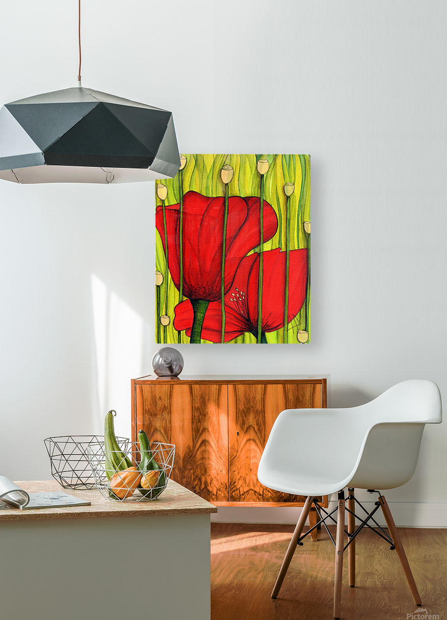 Coastal poppies  HD Metal print with Floating Frame on Back
