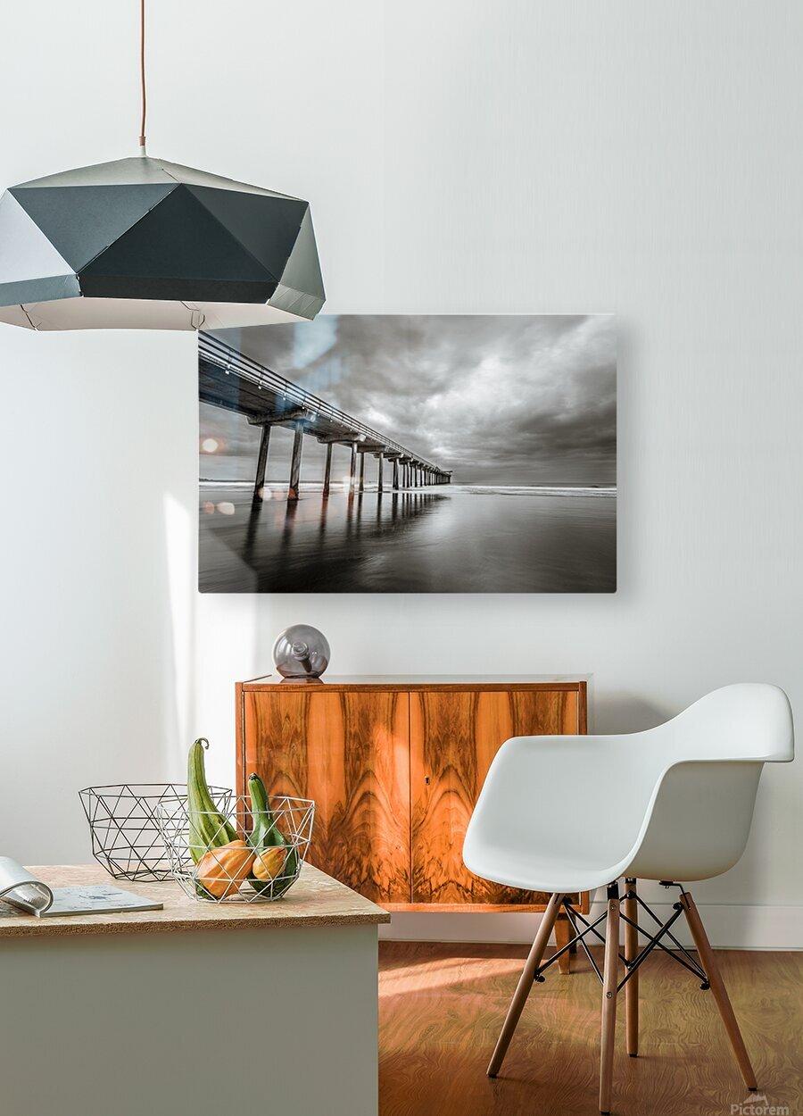 B&W Scripps Pier San Diego  HD Metal print with Floating Frame on Back