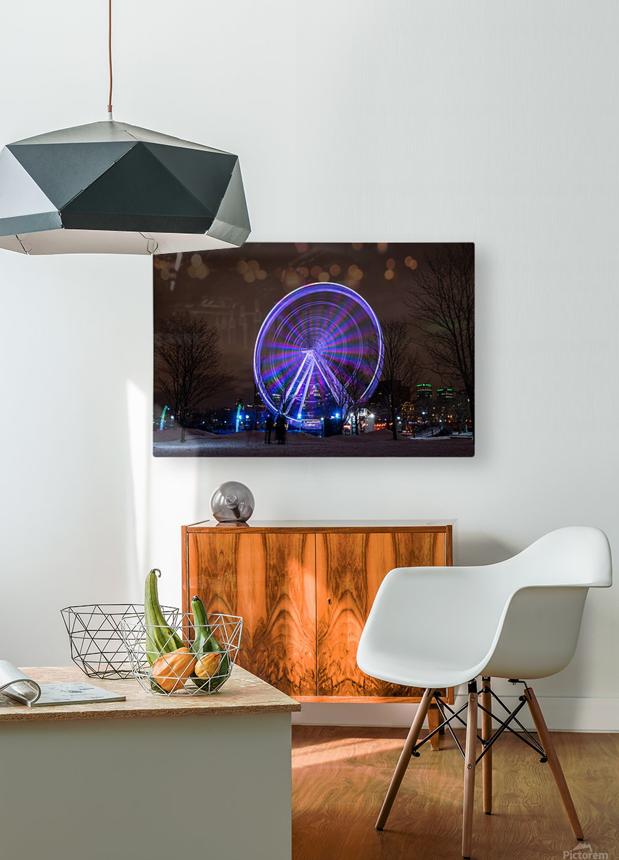 The ferris wheel  HD Metal print with Floating Frame on Back
