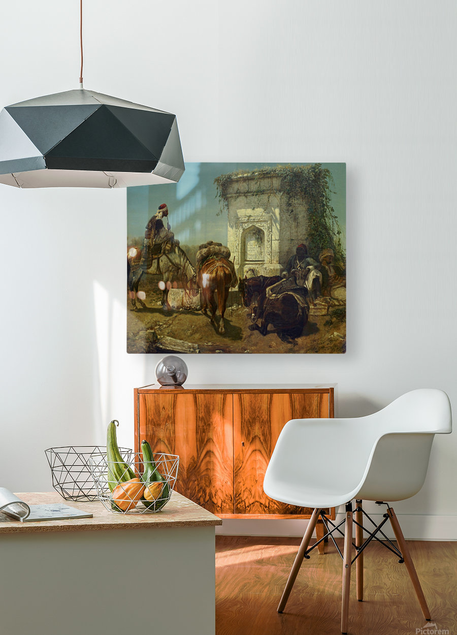 Arabs resting by a marble fountain  HD Metal print with Floating Frame on Back