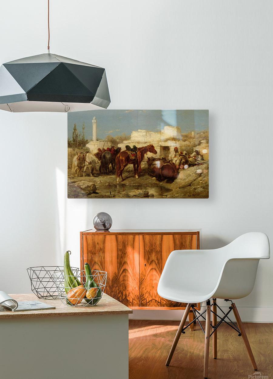 Horses at oasis  HD Metal print with Floating Frame on Back