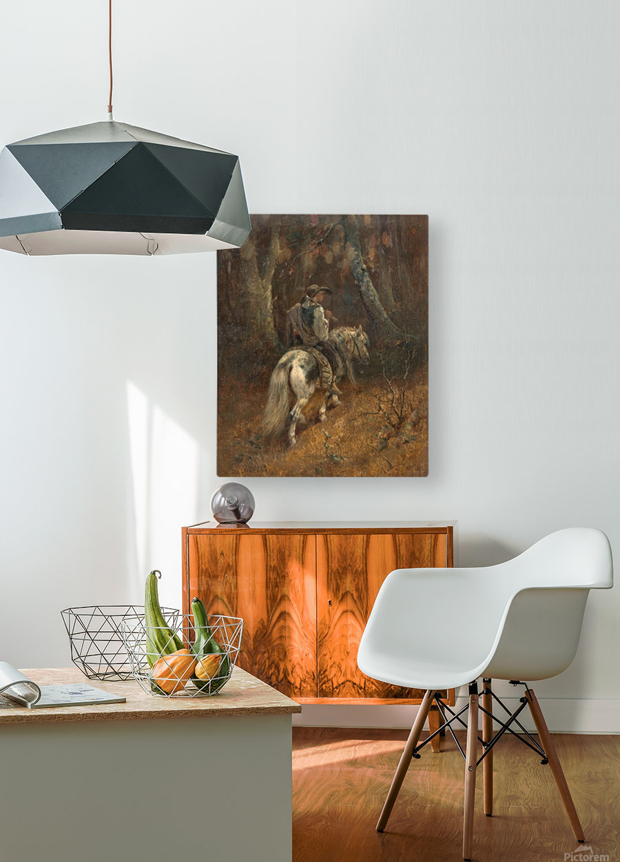 Reiter im Wald  HD Metal print with Floating Frame on Back