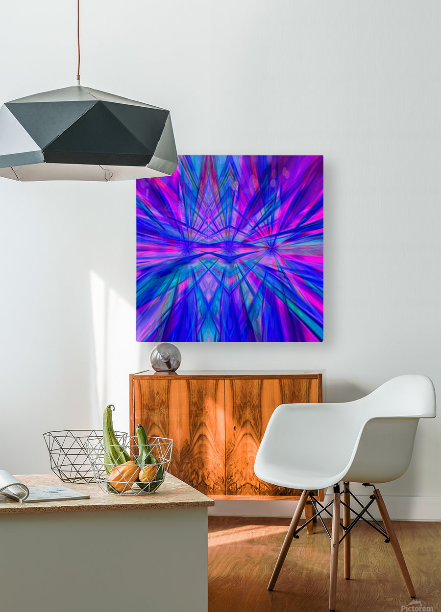 High Vitality - pink blue purple line abstract wall art  HD Metal print with Floating Frame on Back