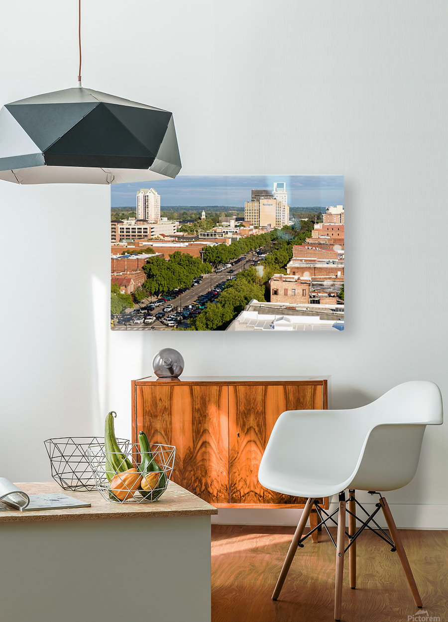 Broad Street Downtown Augusta GA Aerial View 8259  HD Metal print with Floating Frame on Back