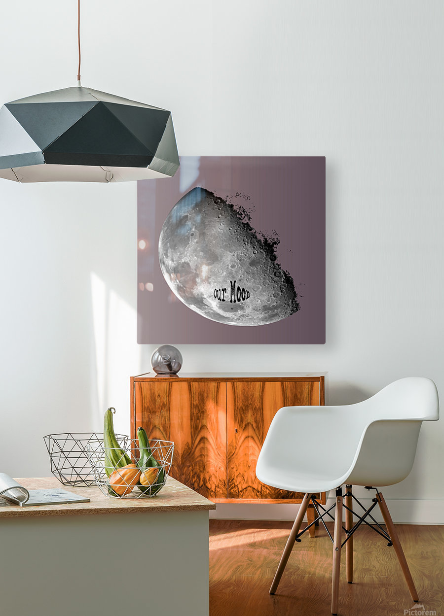 Our Moon  HD Metal print with Floating Frame on Back
