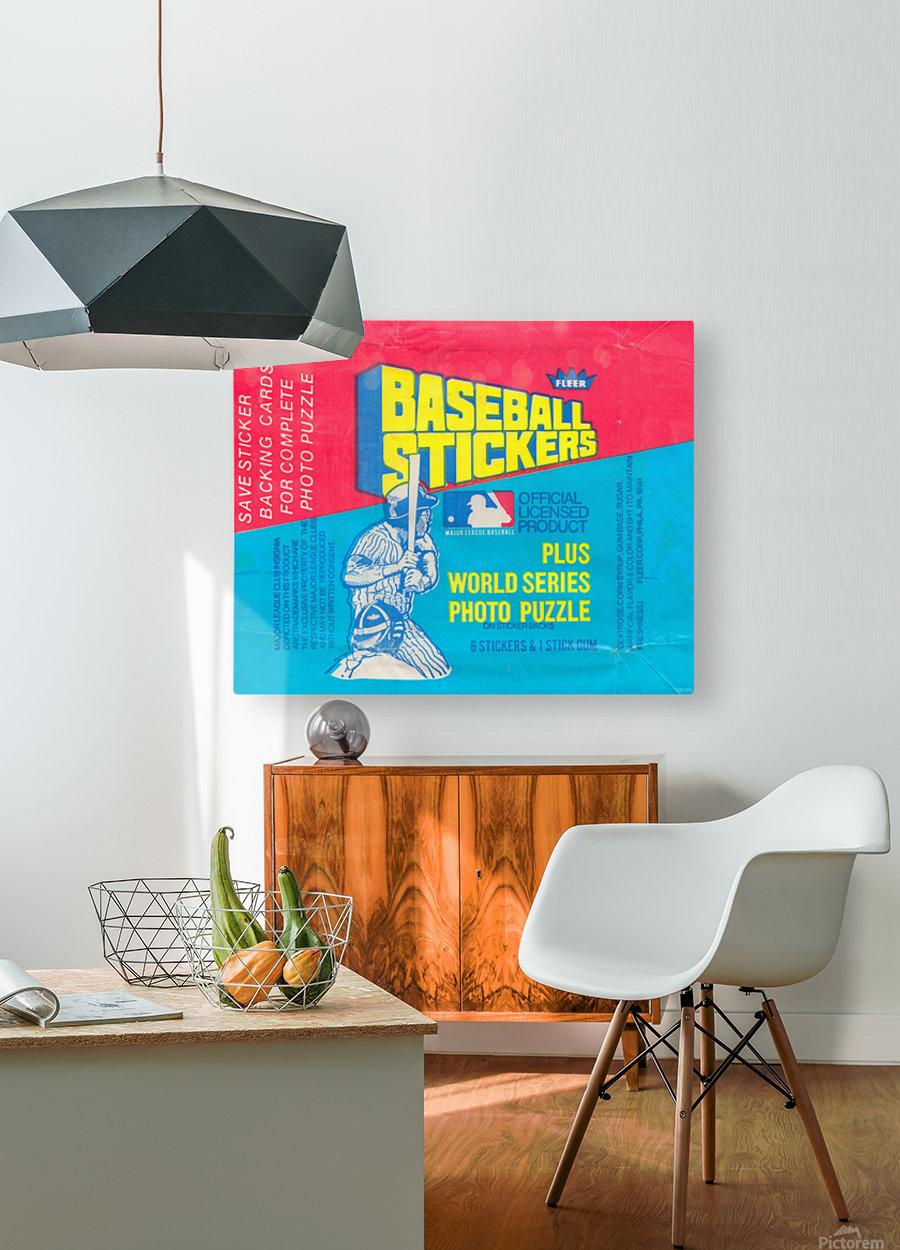 vintage fleer mlb baseball sticker package art design reproduction art  HD Metal print with Floating Frame on Back