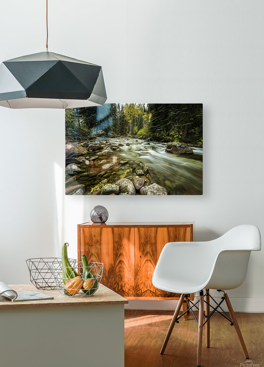 Rocky Mountain Stream  HD Metal print with Floating Frame on Back