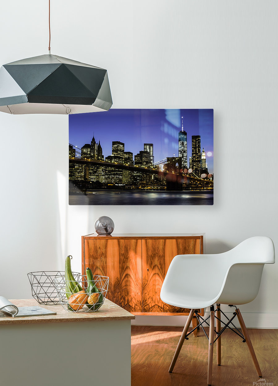 NY City Lights   HD Metal print with Floating Frame on Back