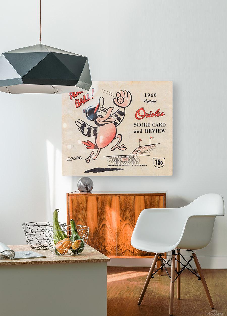 1960 baltimore orioles baseball score card art baseball poster  Impression métal HD avec cadre flottant sur le dos