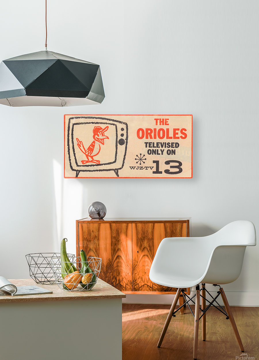 wjz tv baltimore maryland channel 13 television ad orioles baseball retro media ads  HD Metal print with Floating Frame on Back