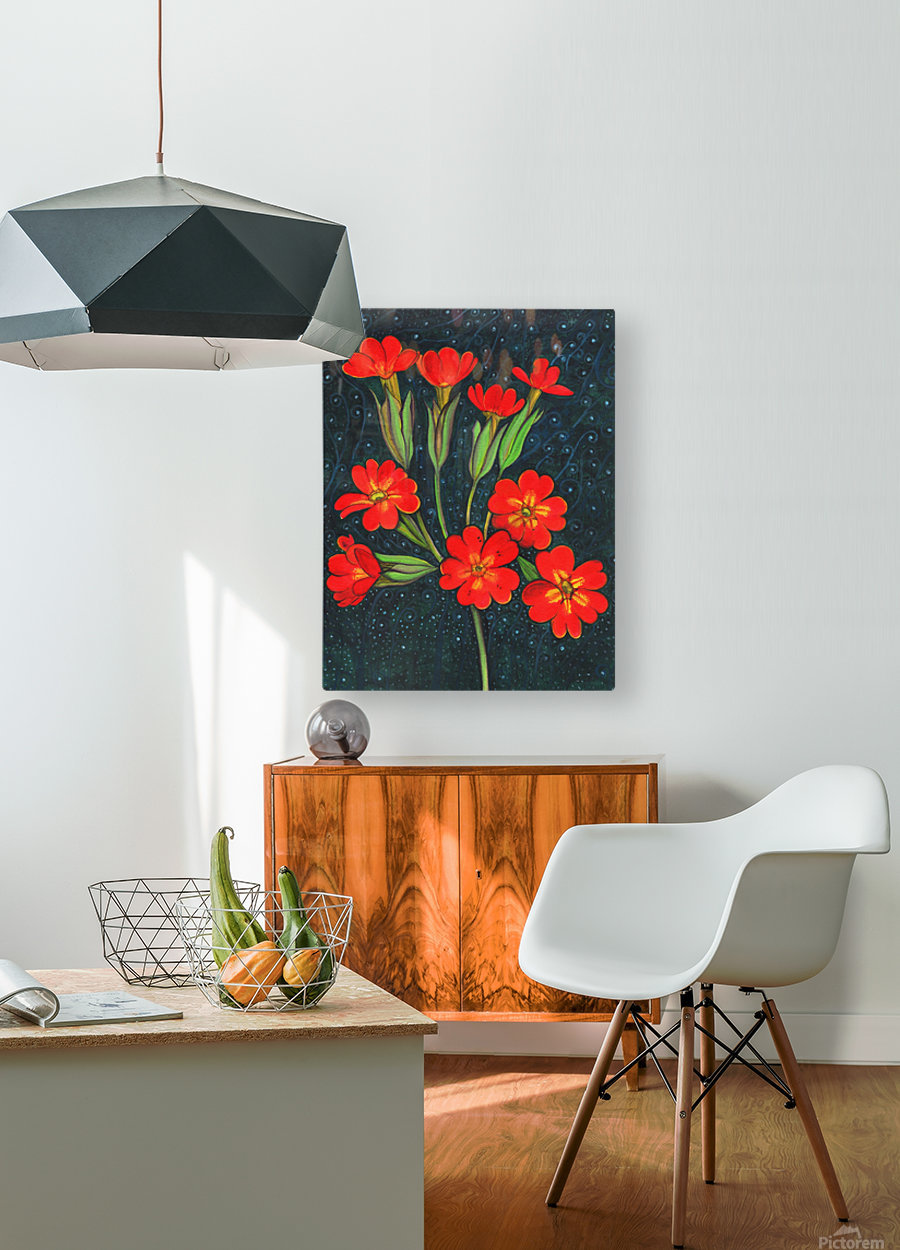 Red flowers shining in a magical starry night  HD Metal print with Floating Frame on Back