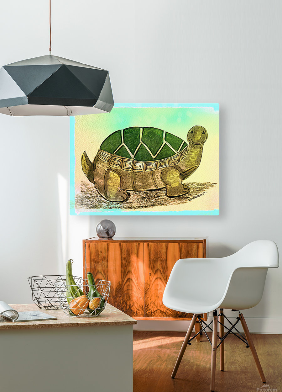 Turtle   HD Metal print with Floating Frame on Back