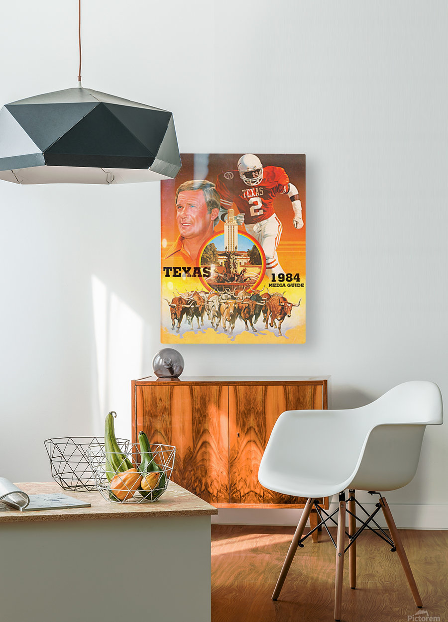 1984 Texas Longhorns Media Guide College Football Poster  HD Metal print with Floating Frame on Back