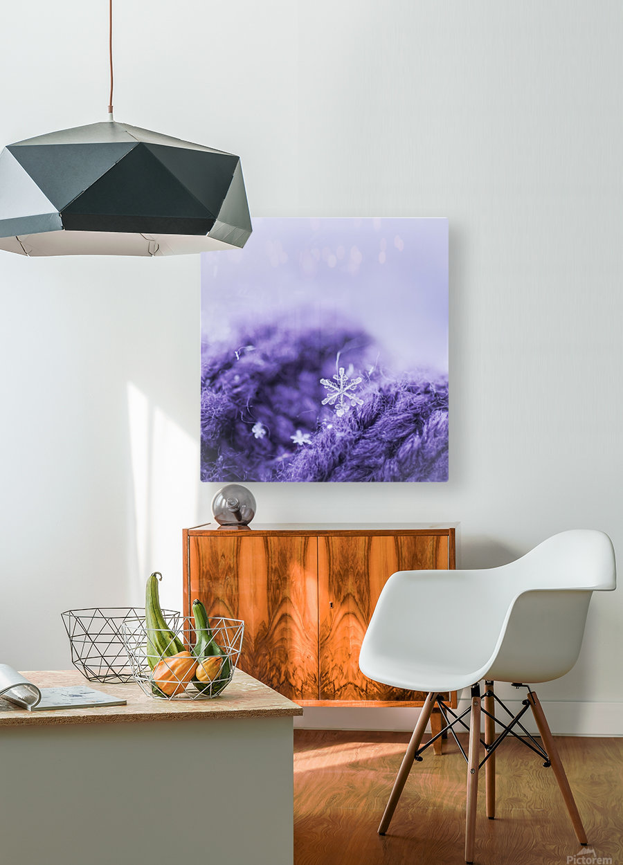 Purple Snowflakes  HD Metal print with Floating Frame on Back