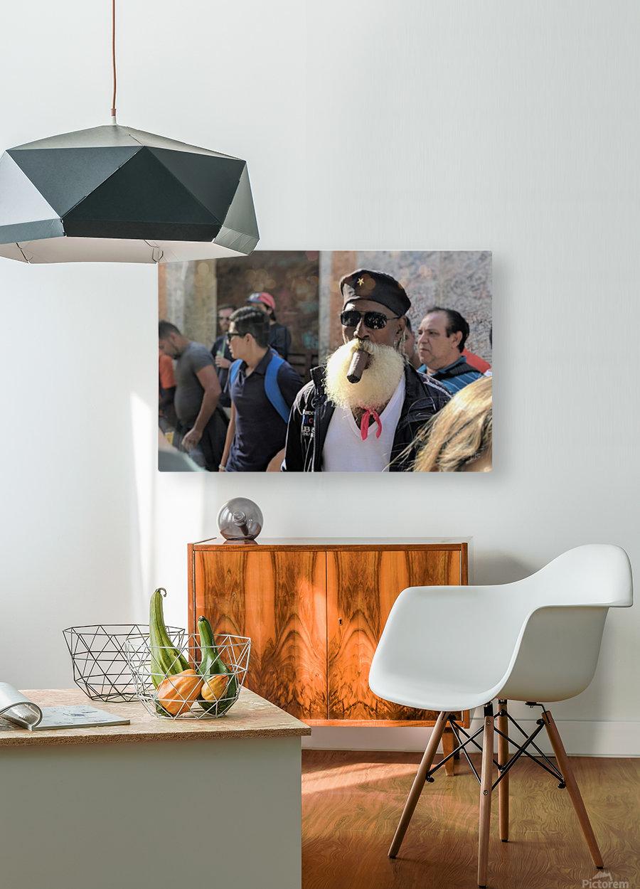 Cuban smoking cigar  HD Metal print with Floating Frame on Back