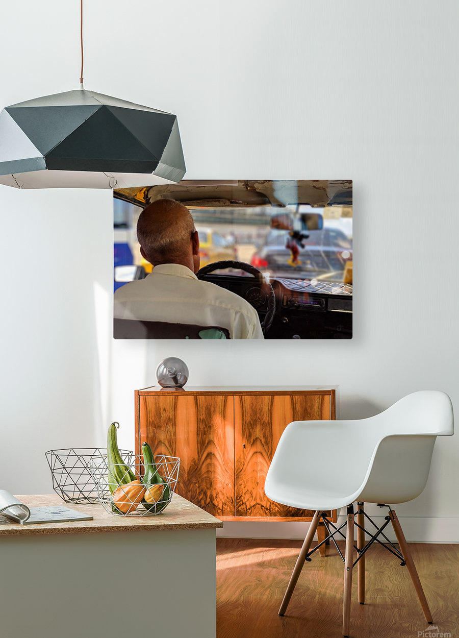 Taxi driver in Cuba  HD Metal print with Floating Frame on Back