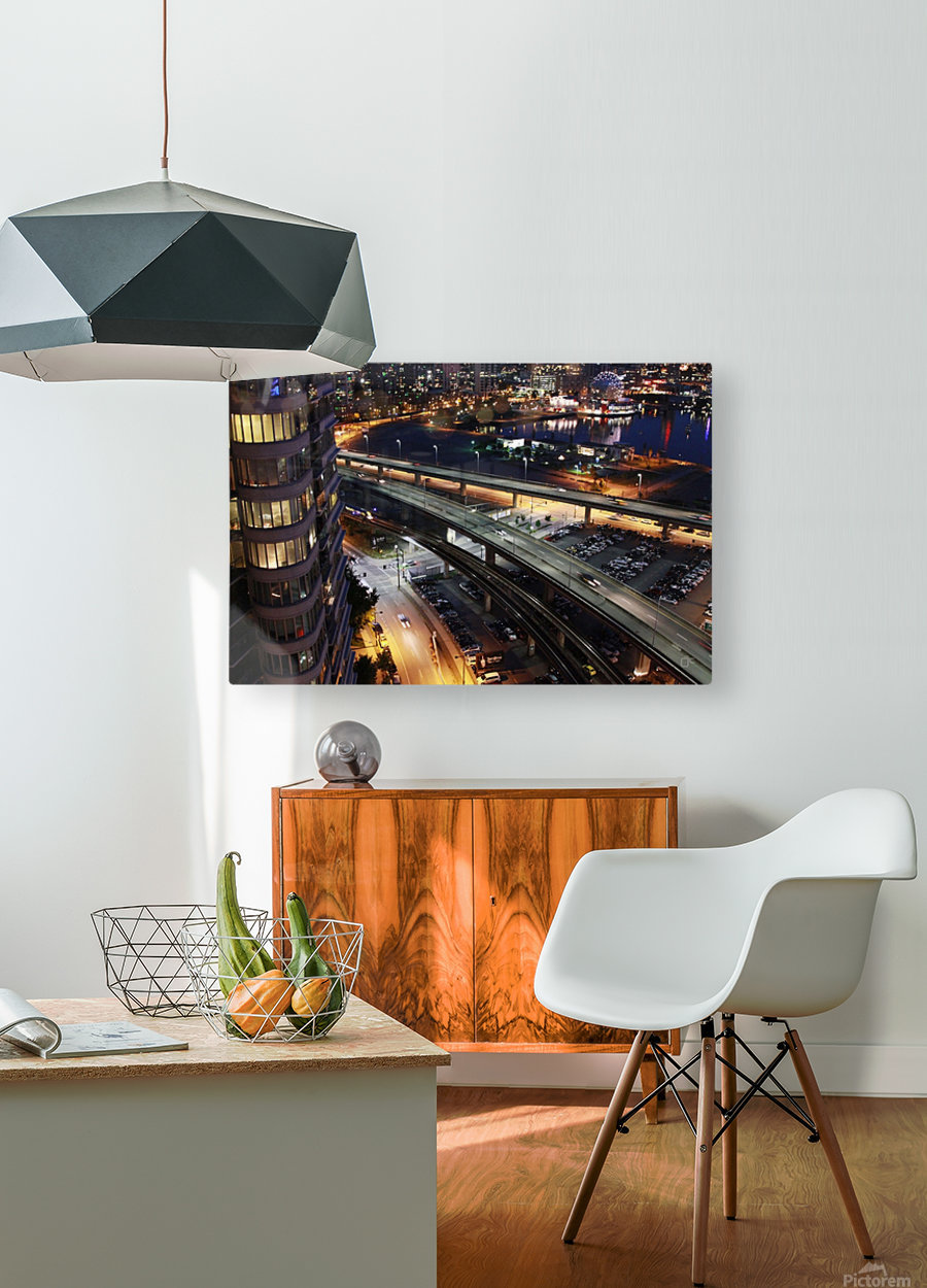 Science Workd at night  HD Metal print with Floating Frame on Back